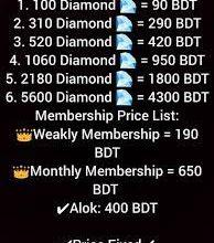 Free Fire Diamond Price list in Bangladesh 2021